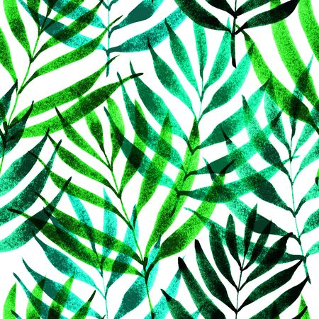 Tropical leaves, jungle pattern. Seamless ink brush botanical pattern. Watercolor green color background. Palm leaves. Foto de archivo