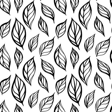 Hand drawn leaf seamless pattern. Tea leaves vector illustration. Repeatable background.