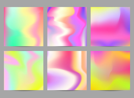 Fluid iridescent multicolored backgrounds. Vector illustration of fluids. Poster set with holographic neon effect. Applicable for flyer, banner, poster, brochure, card.
