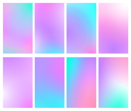 Fluid iridescent multicolored backgrounds. Vector illustration of fluids. Background set with holographic neon effect. Phone screen set.