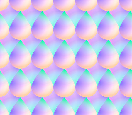 Holographic vector seamless background.  Colorful scales or drop shape repeatable pattern. Vivid neon colors and fluid effect. Illustration