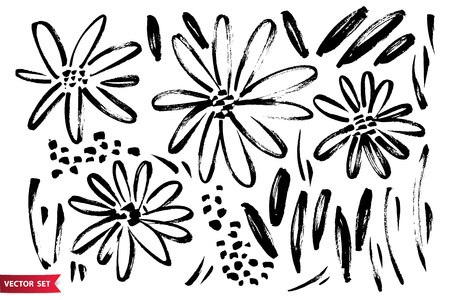 Vector set of ink drawing wild plants, herbs and flowers, monochrome artistic botanical illustration.