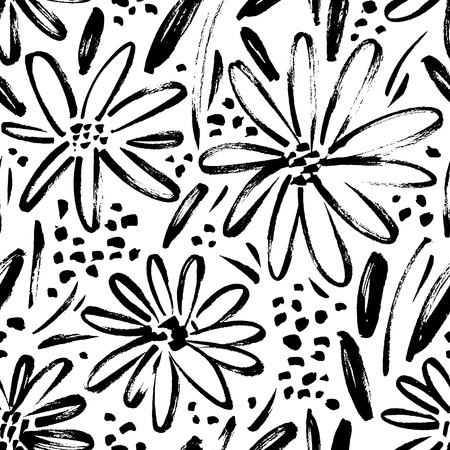 Vector seamless pattern of ink drawing wild plants, herbs and flowers, monochrome botanical illustration, floral elements, hand drawn repeatable background. Artistic backdrop. Vectores