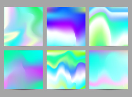 Fluid iridescent multicolored backgrounds. Vector illustration of fluids. Poster set with holographic neon effect.