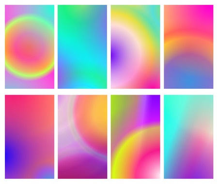 Fluid iridescent multicolored backgrounds vector illustration of fluids. Background set with holographic neon effect. Phone screen saver set.