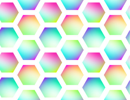 Holographic vector seamless background. Hexagones motif. Gradient shapes. Colorflul repeatable pattern with vivid neon colors and fluid effect.
