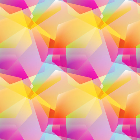 Holographic vector seamless background. Gradient layered shapes.