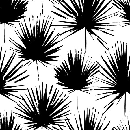 Tropical leaves, jungle pattern. Seamless, detailed, outlined botanical pattern Vector background Illustration
