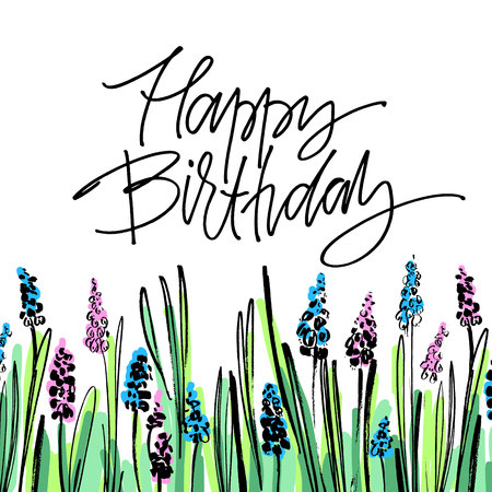 Hand drawn vector lettering. Happy Birthday phrase by hand on bright floral background. Vector illustration. Handwritten modern calligraphy. Inscription for postcards, posters, prints, greeting cards. Illustration