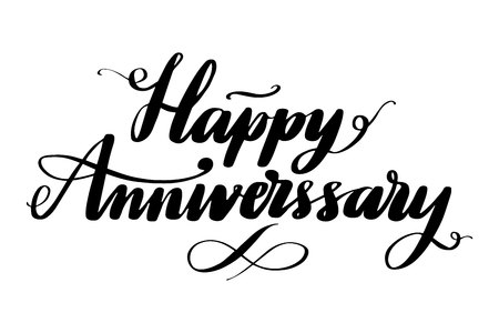 Hand drawn vector lettering. Happy Anniversary phrase by hand. Isolated vector illustration. Handwritten modern calligraphy. Inscription for postcards, posters, prints, greeting cards.