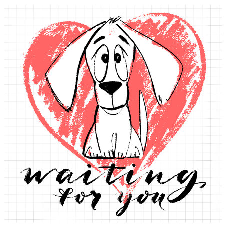 Puppy character with waiting for you text and heart vector illustration