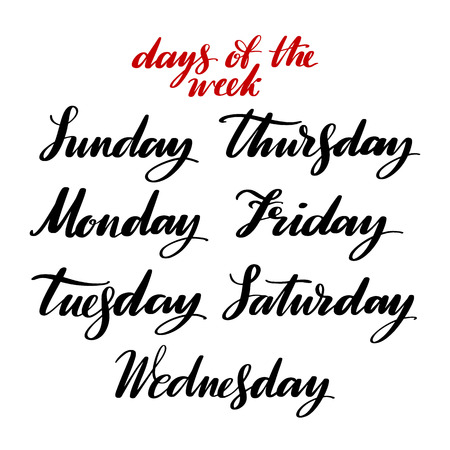 Days of the week by hand. Hand drawn creative calligraphy and brush pen lettering, design for posters, cards, and invitations. Ilustração