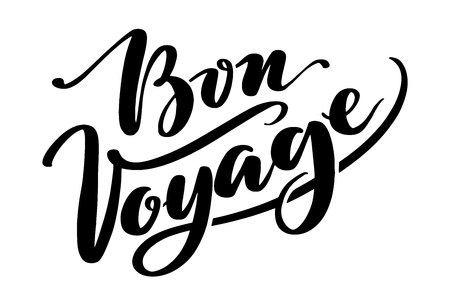 Hand drawn vector lettering. Bon voyage word by hands. Isolated vector illustration. Handwritten modern calligraphy. Inscription for postcards, posters, prints, greeting cards.