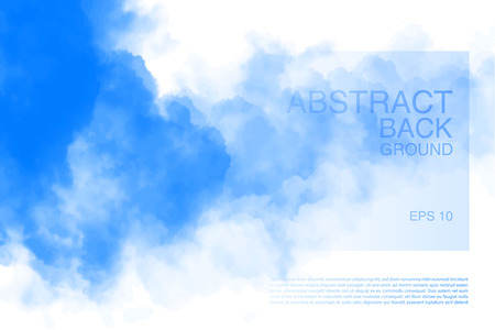 Vector illustration of light clouds in blue sky. Abstract backdrop with realistic cloud motif.