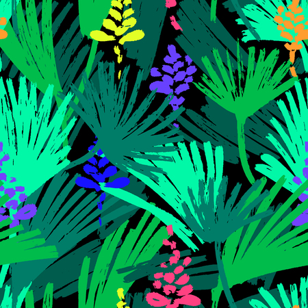 Abstract painting seamless pattern. Free hand colorful background with jungle motif. Hand drawn multi-color background with palm leaves and flowers. 일러스트