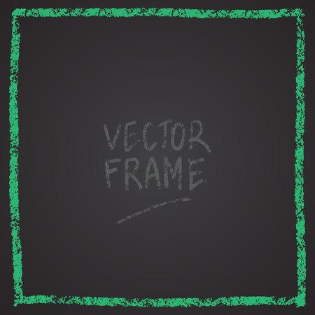 Frame drawn with a crayon. Wax crayon empty shape. Vector image of hand drawn stroke frame. Foto de archivo - 115009877