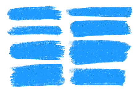 Vector set of hand drawn brush strokes and stains. Blue color artistic hand drawn backgrounds. Blue color design elements set.