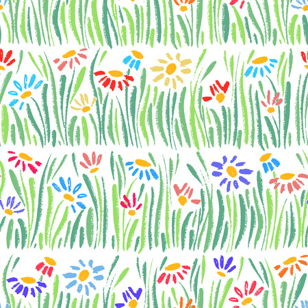 Vector seamless pattern with hand drawing daisies and grass, colorful artistic botanical illustration, isolated floral elements, hand drawn repeatable illustration.