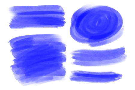 Vector hand drawn watercolor brush stains set. Blue color painted strokes. Watercolor effect brushed backgrounds in horizontal rectangle shape. Artistic backdrops. Illustration