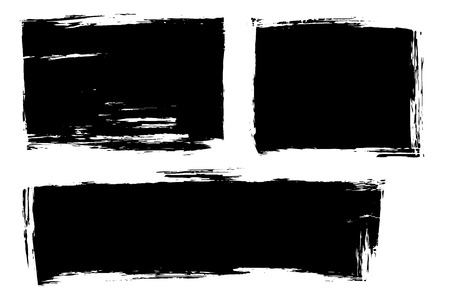 Vector set of hand drawn strokes and stains. Ink brush artistic horizontal spots for backdrops. Monochrome design elements set. Illustration
