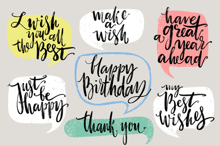 Handwritten congratulations and wish phrases inside hand drawn callout clouds. Lettering. Vector illustration with drawn words.