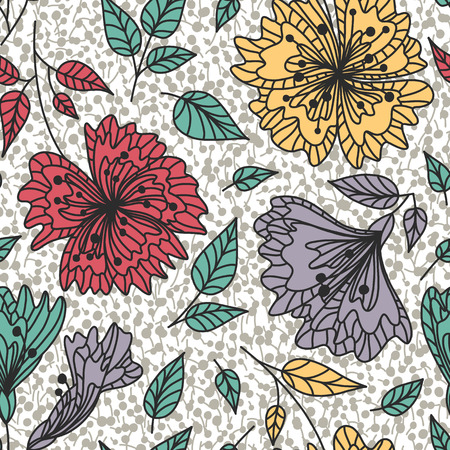 Vector seamless pattern wild plants, herbs and flowers, fol artistic botanical illustration in folk style, hand drawn floral motif with outlined ornamental plants. Repeatable background.