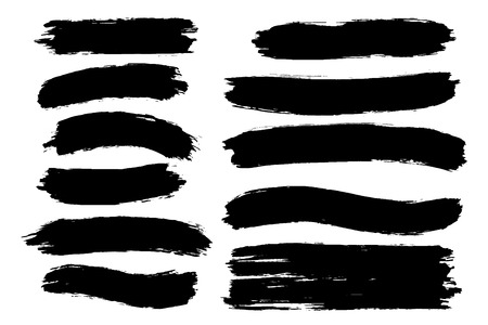 Vector set of hand drawn brush strokes, stains for backdrops. One color monochrome artistic hand drawn backgrounds. Monochrome design elements set.