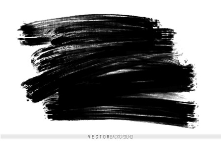 Vector hand drawn ink brush stain. Monochrome painted stroke. Painted by brush black stain. One color grungy background. Monochrome artistic backdrop.
