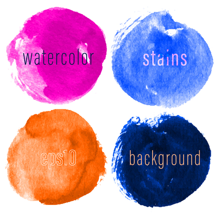Vector set of hand drawn watercolor circles for backdrops. Colorful artistic hand drawn backgrounds. Hand drawn stains round shape set.