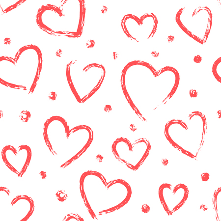 Vector seamless naive pattern for Valentines day. Hand drawn hearts. Various dry brush painted hearts background. Red and white colors hand drawn repeatable backdrop.