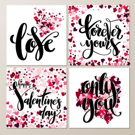 Valentine s Day creative artistic hand drawn cards set. Vector illustration. Wedding, love, romantic template.