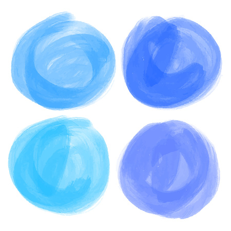 Vector set of hand drawn watercolor circles for backdrops. Hand drawn stains round shape set. Colorful artistic hand drawn backgrounds.