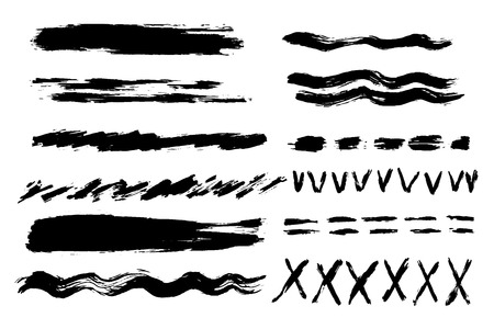 Vector set of hand drawn brush strokes. 向量圖像