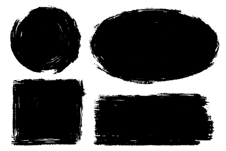 Vector set of hand drawn brush strokes, stains for backdrops. Monochrome design elements set. Black color artistic hand drawn backgrounds various shape
