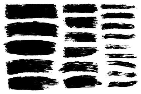 Ensemble de vecteurs de coups de pinceau dessinés à la main, taches pour toiles de fond. Arrière-plans dessinés à la main artistique monochrome. Ensemble d'éléments de conception monochrome.