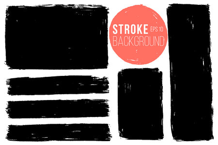 Vector set of big hand drawn brush strokes, stains for backdrops. Monochrome design elements set. One color monochrome artistic hand drawn backgrounds rectangular shapes