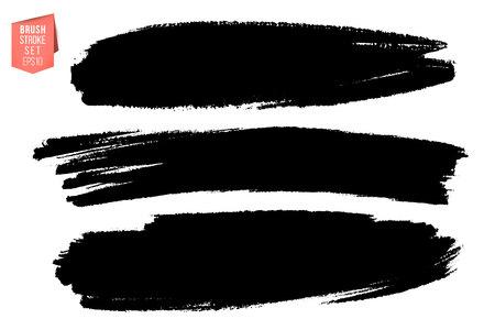 Conjunto de vector de trazos de pincel dibujados a mano, manchas para telones de fondo. Conjunto de elementos de diseño monocromo. Fondos dibujados a mano artísticos de color negro varias formas