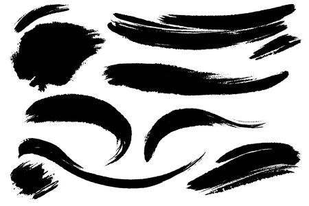 Conjunto de vector de trazos de pincel dibujados a mano, manchas para telones de fondo. Fondos dibujados a mano artísticos monocromáticos de un color. Conjunto de elementos de diseño monocromo.