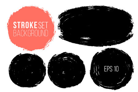 Vector set of hand painted circles for backdrops. Monochrome artistic hand drawn backgrounds. Hand drawn stains round shape set