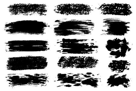 Conjunto de vector de trazos de pincel dibujados a mano, manchas para telones de fondo. Conjunto de elementos de diseño monocromo. Fondos dibujados a mano artísticos monocromáticos de un color