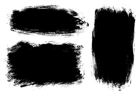 Vector set of big hand drawn brush strokes, stains for backdrops. One color monochrome artistic hand drawn backgrounds. Monochrome design elements set various shapes Vector Illustration