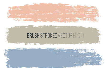 Vector set of hand drawn horizontal brush strokes, stains for backdrops. Colorful design elements set. Artistic hand drawn backgrounds