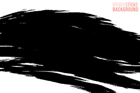 Vector hand drawn ink brush stain. Monochrome painted stroke. Painted by brush black stain. One color grungy background. Monochrome artistic backdrop. 免版税图像 - 125942223