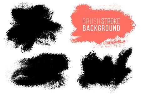 Vector set of big hand drawn brush strokes with splashes, stains for backdrops. Monochrome design elements set. One color monochrome artistic hand drawn backgrounds various shapes.