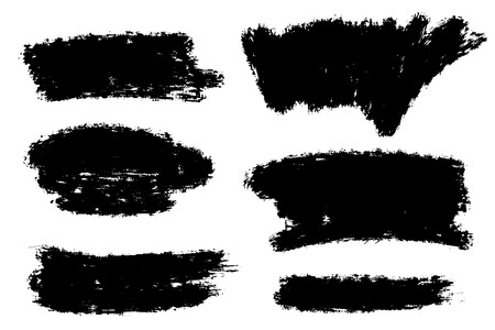 Vector set of big hand drawn brush strokes with splashes, stains for backdrops. Monochrome design elements set. One color monochrome artistic hand drawn backgrounds various shapes