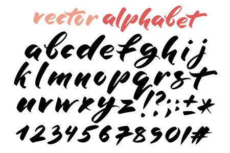 Hand drawn alphabet, marks and numbers. Handwritten lettering in brush style. Modern script in vector. Handmade artistic letters and figures for design