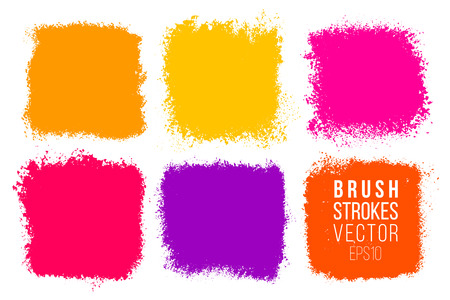 Vector set of big hand drawn brush strokes with splashes, stains for backdrops. Colorful design element set. Bright color artistic hand drawn backgrounds square shapes. Painted patches