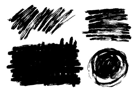 Vector hand drawn brush strokes set with scrawls, stains for backdrops. Monochrome design elements set. One color monochrome artistic hand drawn backgrounds various shapes