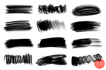 Vector set of hand drawn brush strokes, stains for backdrops. Grayscale design elements set. Artistic hand drawn backgrounds in various shape. Illustration