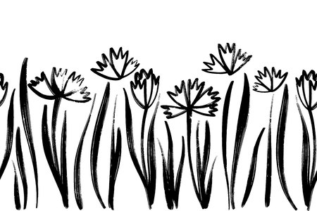 Vector seamless border with ink drawing spring flowers, artistic botanical illustration, isolated floral elements, hand drawn repeatable illustration